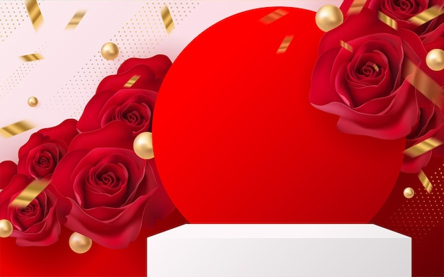 3d background products for valentine's day podium in red rose background vector 3d with cylinder. podium stand to show cosmetic product with craft style on background.
