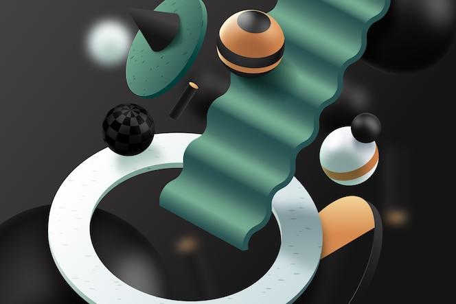 3d фон с шарами и лестницами