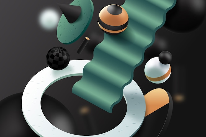 3d background with spheres and stairs