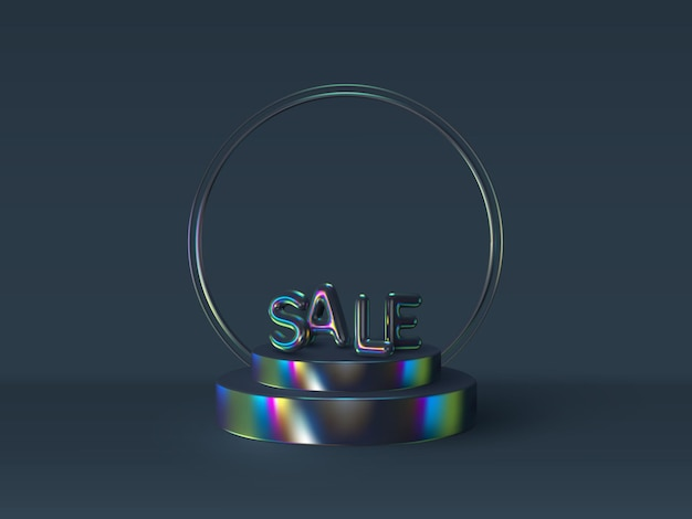 3d знак продажи воздушного шара на подиуме. глянцевый переливающийся цвет
