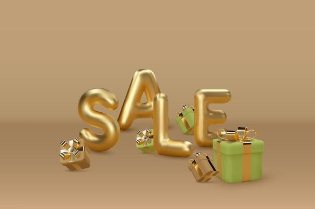 Слово продажи воздушного шара 3d с золотыми буквами с подарочными коробками.