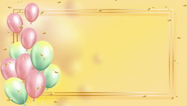 金色のフレームで飛んでいる3d気球。ピンクとグリーンのパステルカラーの浮かぶリアルなヘリウム風船
