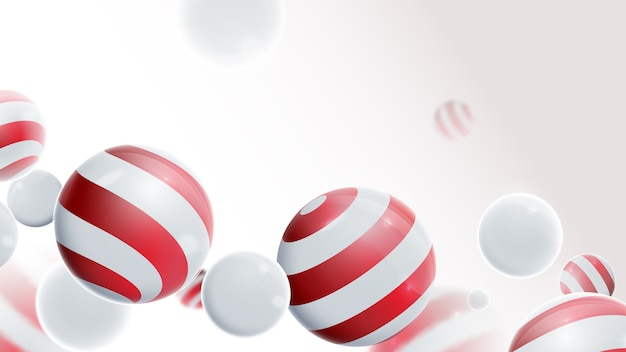 3dボール構成。白と赤のボール。