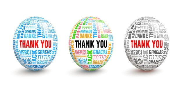 3d balls with words thanks in different languages