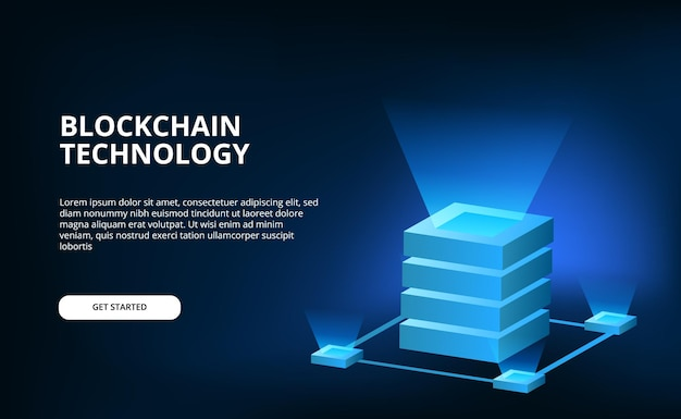 3d banner with cube network cloud crypto technology for blockchain on black surface