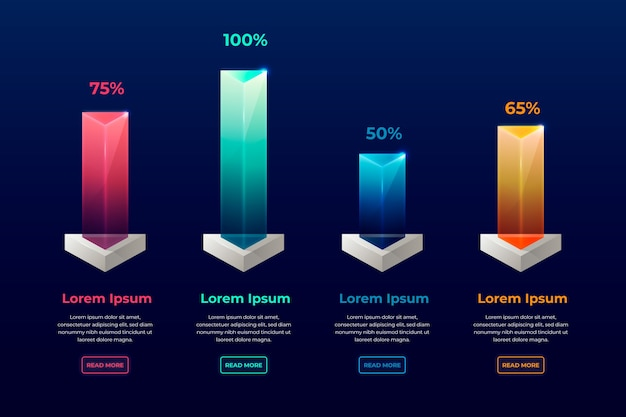 3d bars colorful infographic