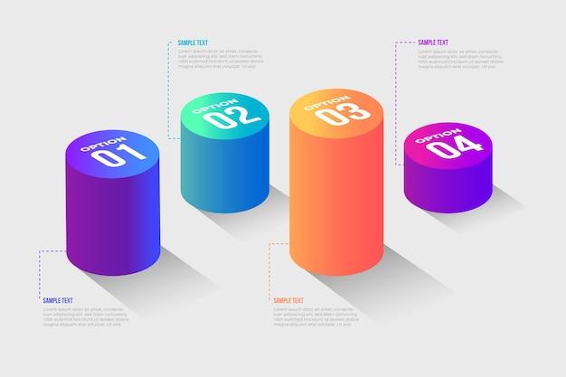 3d бары инфографики концепция