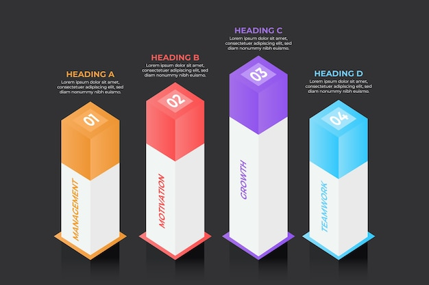 3d bars infographic concept