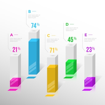 3d bars infographic design