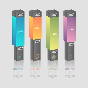 3d bars infographic template