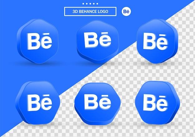 소셜 미디어 아이콘 로고에 대한 현대적인 스타일 프레임 및 다각형의 3d behance 아이콘