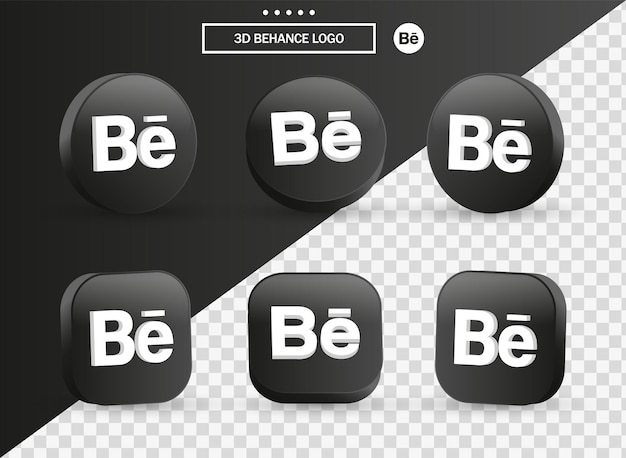 3d behance logo icon in modern black circle and square for social media icons logos