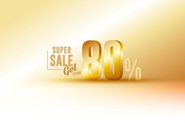 Скидка на лучшие продажи 3d баннер с восемьюдесятью 80 процентами