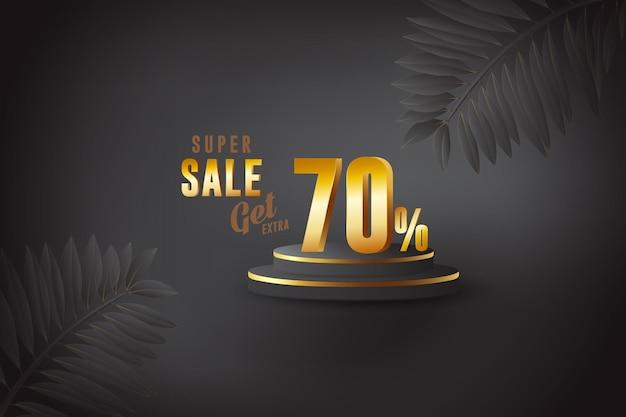 Скидка на лучшие продажи 3d баннер с семьюдесятью 70 процентами