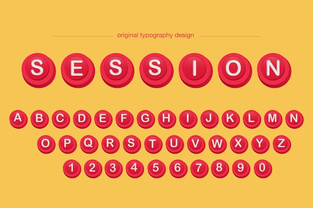 3d bevel red button typography design