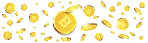 3d bitcoins golden coins flying over white background cryptocurrency concept horizontal banner