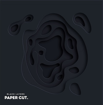 3d black abstract background with white paper cut shapes.
