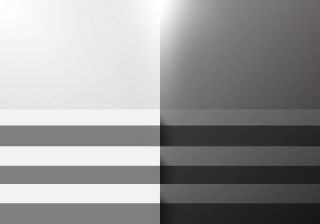 ディスプレイ製品展示ミニマルデザインの照明と3d黒と白のステップ階段スタジオルーム空白の背景。ベクトルイラスト