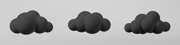 3d black clouds set isolated on a grey background. render soft cartoon fluffy black clouds icon, dark dust or smoke. 3d geometric shapes vector illustration