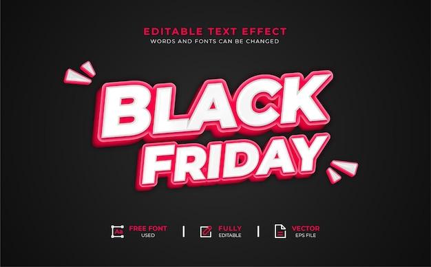 Редактируемый текстовый эффект 3d черная пятница