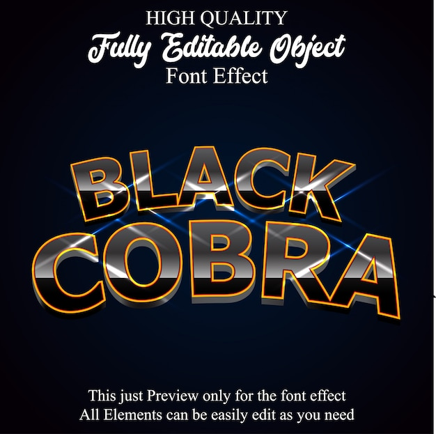 3d black glossy text style editable font effect