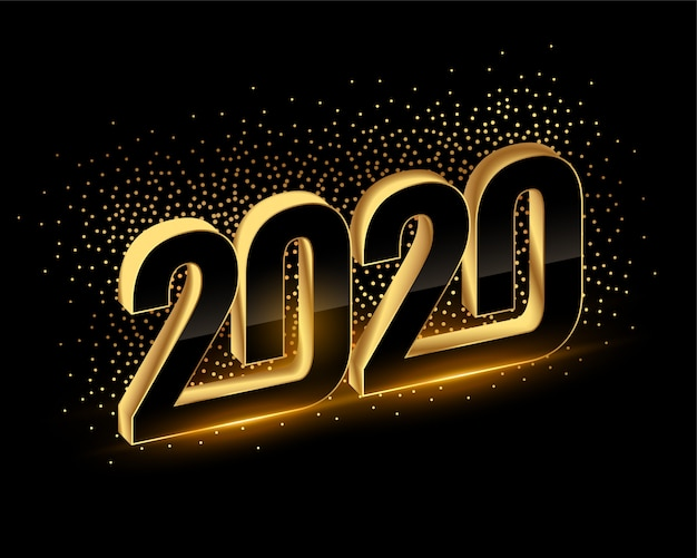 3d black and gold happy new year 2020 background