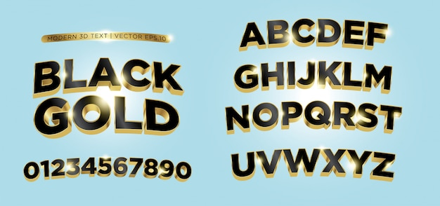 3d black gold lettering alphabet