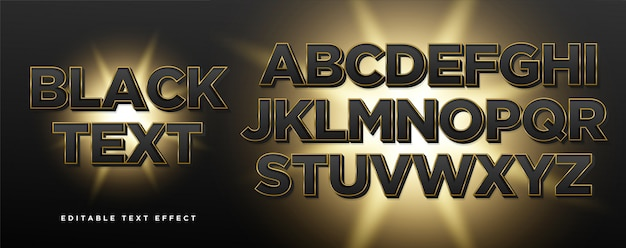 3d black gold text style effect