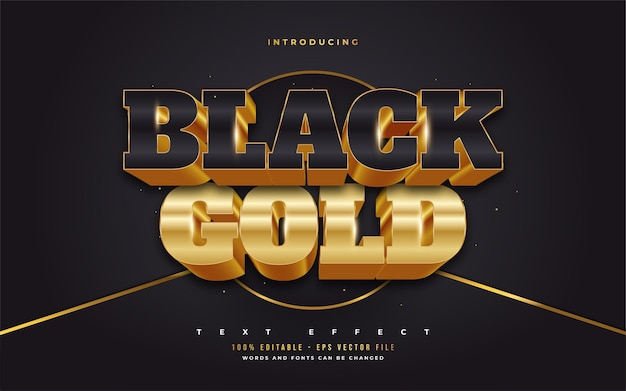 3d black and gold text style with embossed effect. editable text style effects