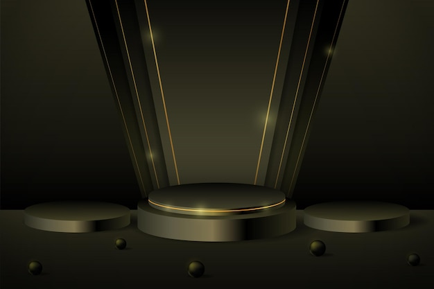 ブラックフライデーバナーキャンペーン用の3dブラックポディウム製品ディスプレイ