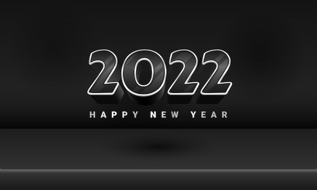 3d black silver luxury 2022 happy new year banner stage