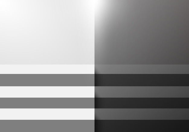 3d black and white step stair studio room blank background with lighting for display product exhibition minimal design. vector illustration