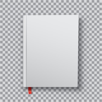 3d blank book template with white cover on transparent
