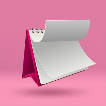 3d blank calendar template with open cover on pink  with soft shadows.