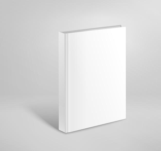 3d空白のハードカバーの本のベクトルのモックアップ。紙の本のテンプレート