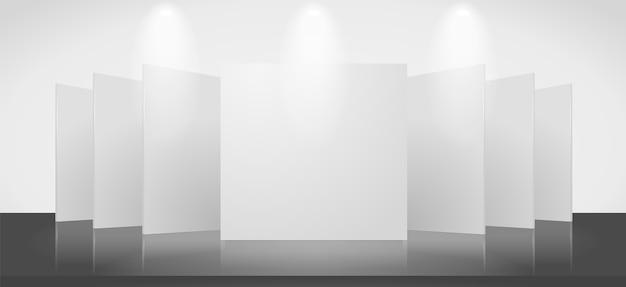空白のスタンドがある展示シーンの3d空白テンプレート。画像には透明な光と影が含まれています