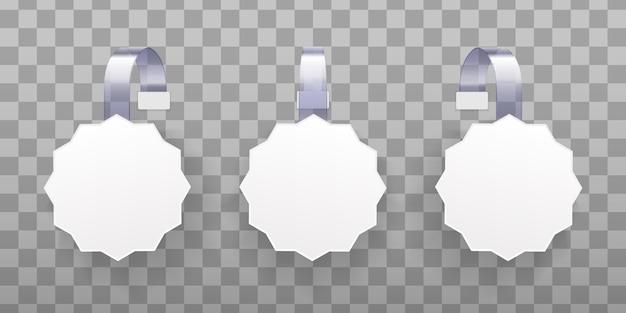3d空白の白い丸い激怒。透明な背景に分離された白い空白の広告wobblers。プロモーション販売、スーパーマーケットの値札の概念。紙の販売のための正方形のラベル。 illustrtaion
