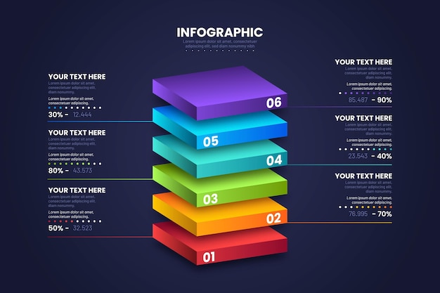 3d block layers infographic design