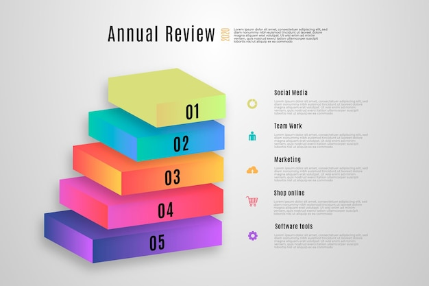 3d block layers infographic template Free Vector