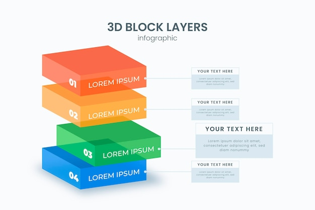 3d block layers infographic template