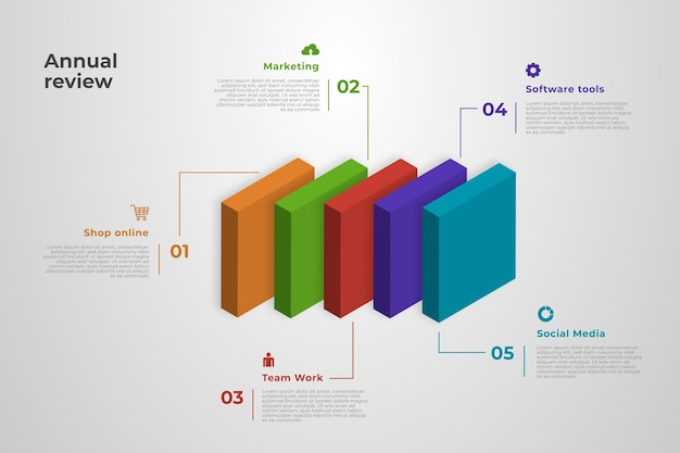 3d block layers infographic Premium Vector