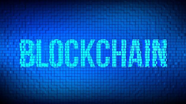 3d blockchain word built with cubes.