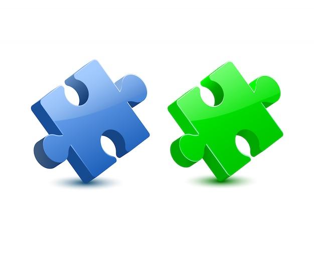 3d blue ang green puzzle vector
