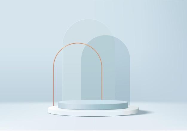 3d 파란색 배경 제품은 기하학적 플랫폼과 연단 장면을 표시