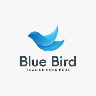 3d blue bird logo design