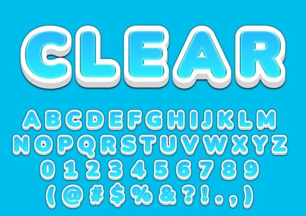 3d青いバブルアルファベット番号セット
