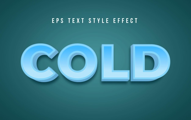 3d blue cold editable text graphic style effect