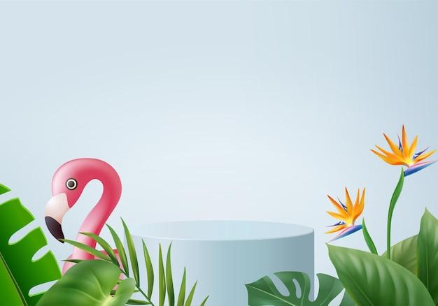 夏の背景製品の表示のための3dブルーフラミンゴレンダリング。緑の葉の表彰台シーン