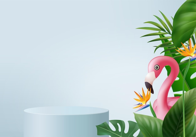 3d blue flamingo render for summer background product display. podium scene with green leaf