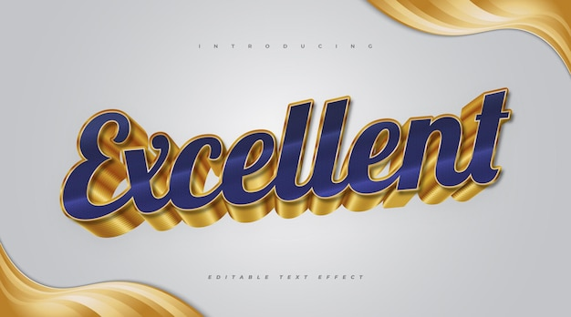 3d blue and gold editable text effect